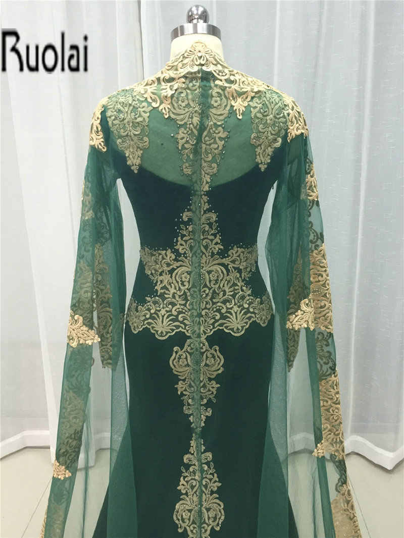 2cae5925309c ... 2017 Custom Made Gold Lace Appliques Mermaid Muslim Evening Dresses  Sheer Sleeves Arabic Prom Party Dress ...