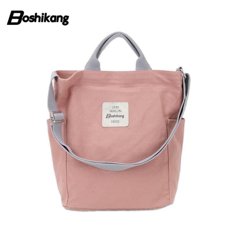 9c6094fbc Boshikang Women Canvas Tote Ladies Casual Shoulder Bag Foldable ...