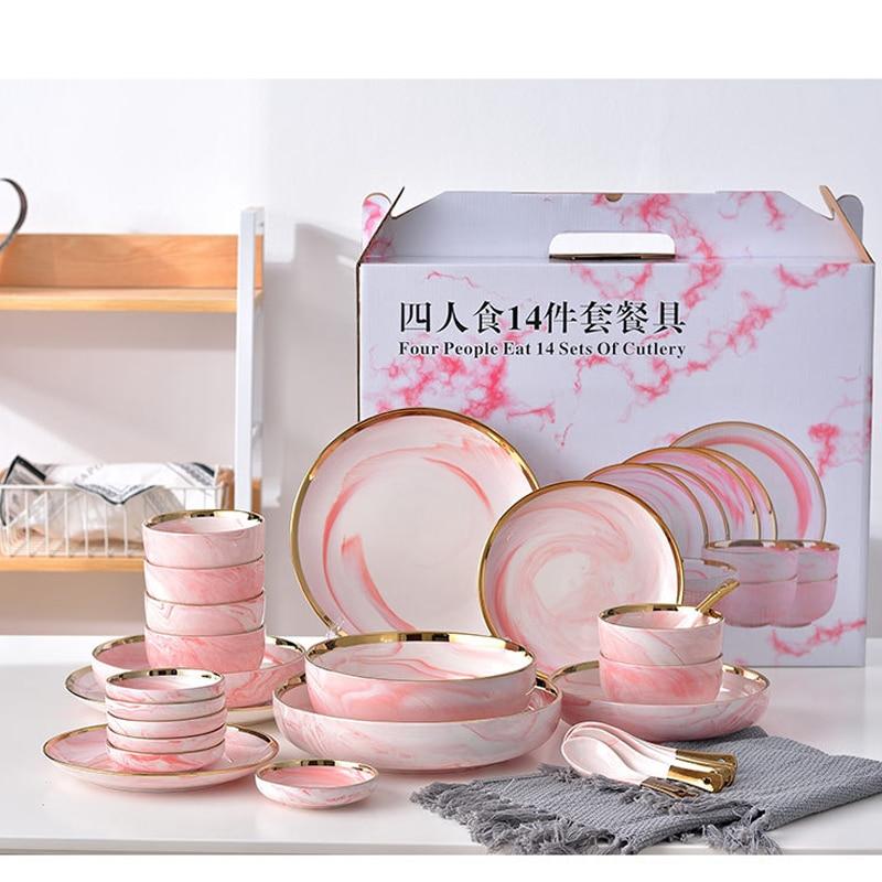 Vaisselle de table en céramique marbre rose | Service de table, riz salade nouilles bol assiettes à soupe, service de table, vaisselle outil de cuisine 4