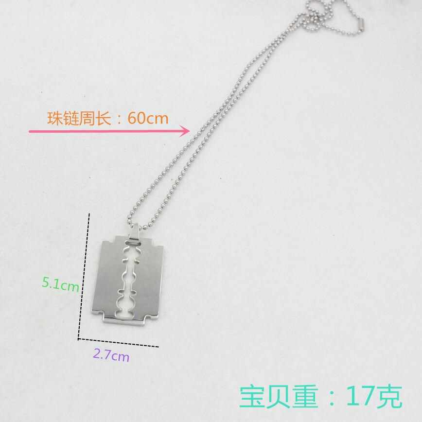 stainless steel beads chains Chic Shaving blade pendant necklaces for men punk witcher wolf necklaces women Harajuku jewelry
