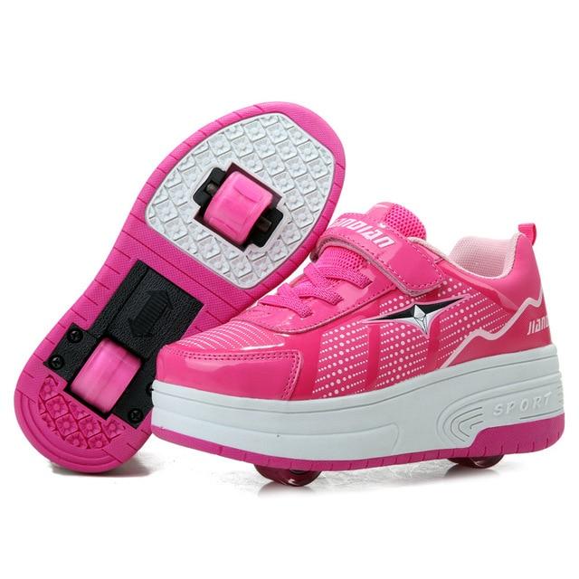 2015 Nuevo Chico caballitos zapatos tenis zapatillas deportivas con ruedas chicas ninos y ninas muchacho de los niños zapatos del rodillo con dos ruedas