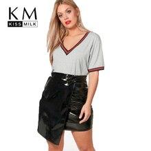 Kissmilk Plus Size 2018 Women Solid Half Sleeve T-Shirt Large Size Female V-Neck Black White Gray T-Shirt Over Size Casual Tops цена 2017