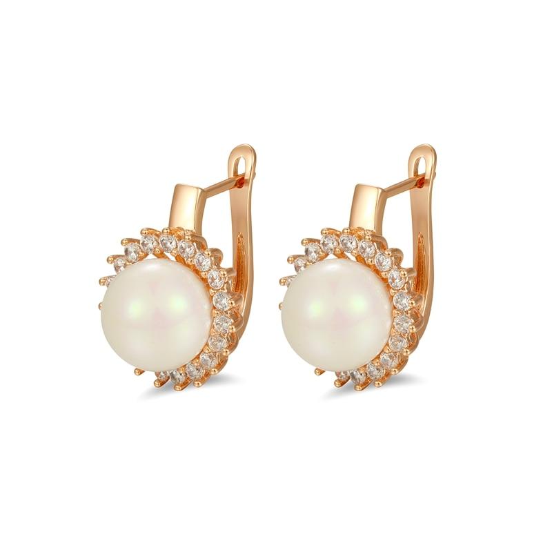 Új 2019 gyöngy gyöngy fülbevaló fehér arany színű cirkon cc - Divatékszer