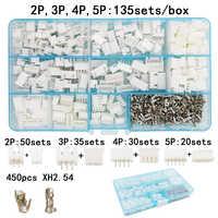 135 sets/box terno 2p 3 p 4 p 5 p pino 2.54mm xh2.54 conector plug + agulha reta soquete terminal cabeçalho fio adaptador conectores