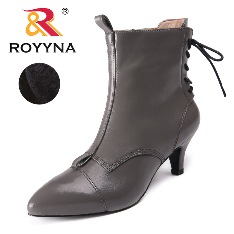 ROYYNA New Arrival Style Women Boots Pointed Toe Women Winter Shoes Zipper Women Ankle Boots Comfortable Light Free Shipping