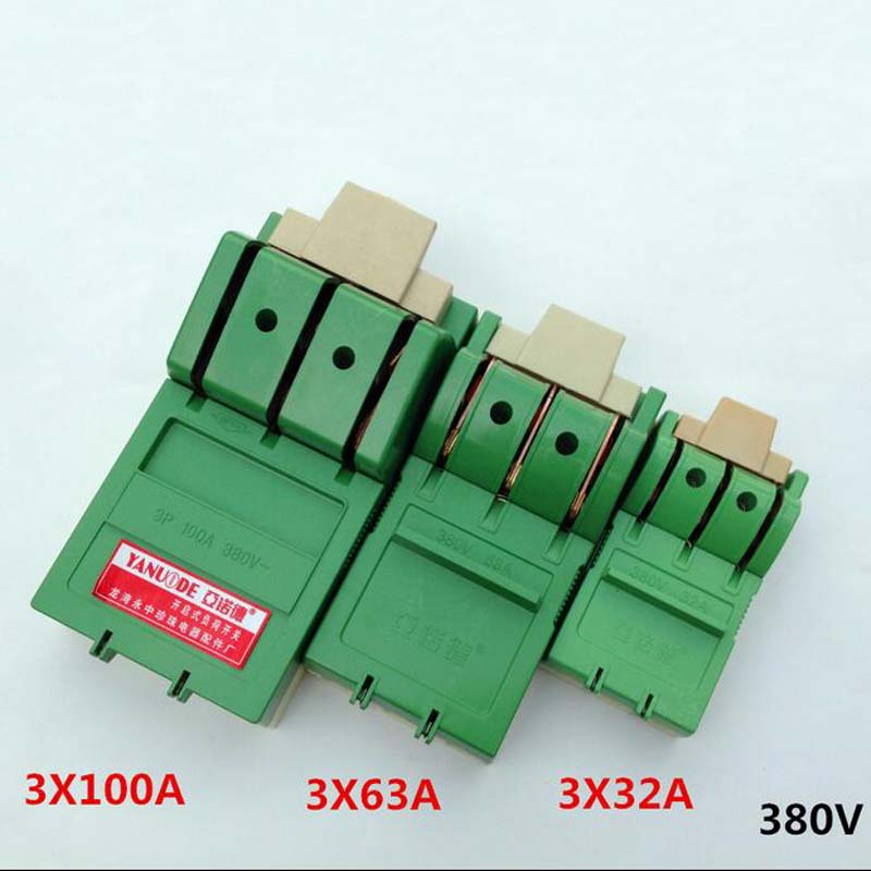 4pcs Three-phase Knife,Three Single-phase High-power Switch, Knife Switch Open Load Switch 3 * 32A 3 * 63A  380V three 100ml