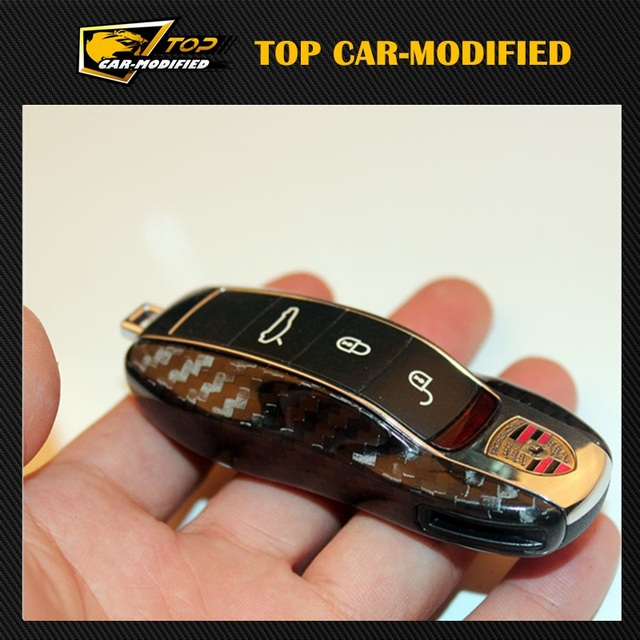Free shipping 100% Real Pure DRY Carbon Fiber Car Key Case Cover Shell For Porsche Panamera 2009-2015/ Macan 2014- 2015/ Cayenne