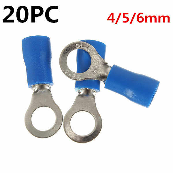 20PCS 14-16AWG Blue Heat Shrink Electrical Wiring Crimp Terminal Connectors 4mm / 5mm / 6mm