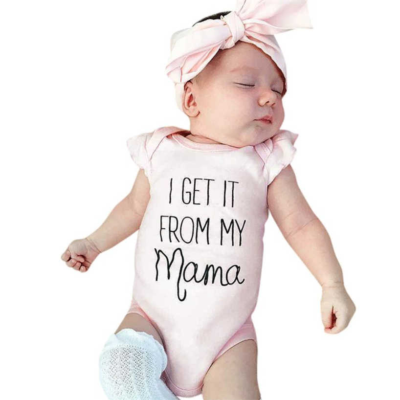Set toddler girls summer clothing Letter Clothes Infant Jumpsuit Romper+Headband Outfits 2018MAR22