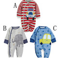 Boy winter romper Cartoon cotton Long sleeve Cars and animal patterns infant bebes jumpsuit baby clothing