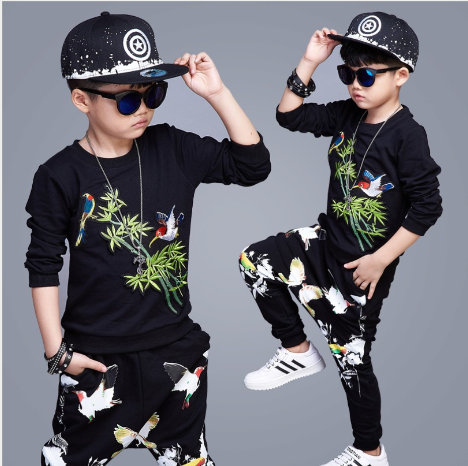 Boys Clothes Sets 2017 Autumn Winter Children Sports Suit Teenage Hip Hop Clothes Girls 13 Tracksuit Kids Add Velvet Two-piece