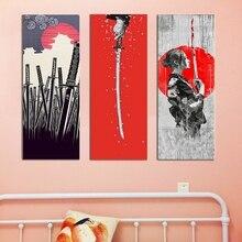 Japanese Style Samurai Sword Cartoon Wall Art Canvas Painting for Bedroom Game Lobby Decor Kimono Portrait Artwork Dropship