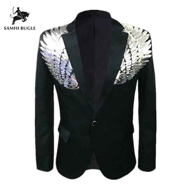 Para estrenar 2810f 80834 Chaqueta con lentejuelas para hombre, chaqueta y alas, ajustada hombre