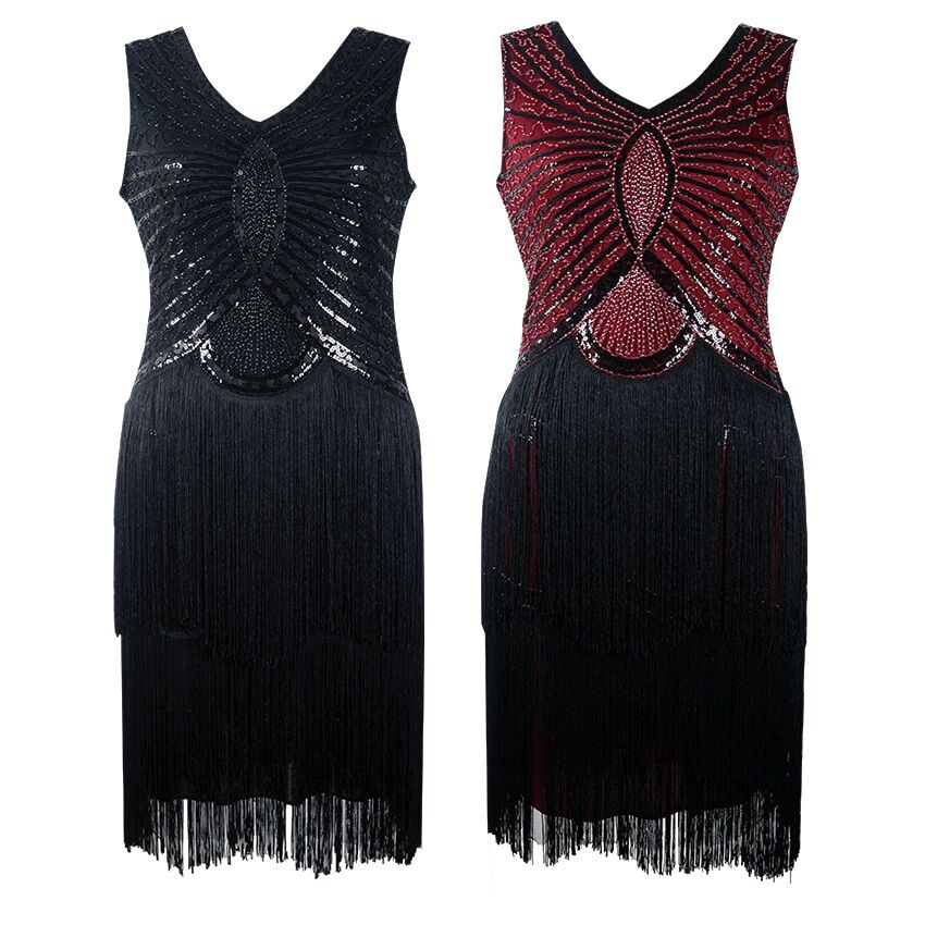 Sexy Women Vestidos Black Vintage Dresses 1920s Flapper Great Gatsby Fringe Beaded Sleeveless V Neck Sequin Dress Club in Dresses from Women 39 s Clothing