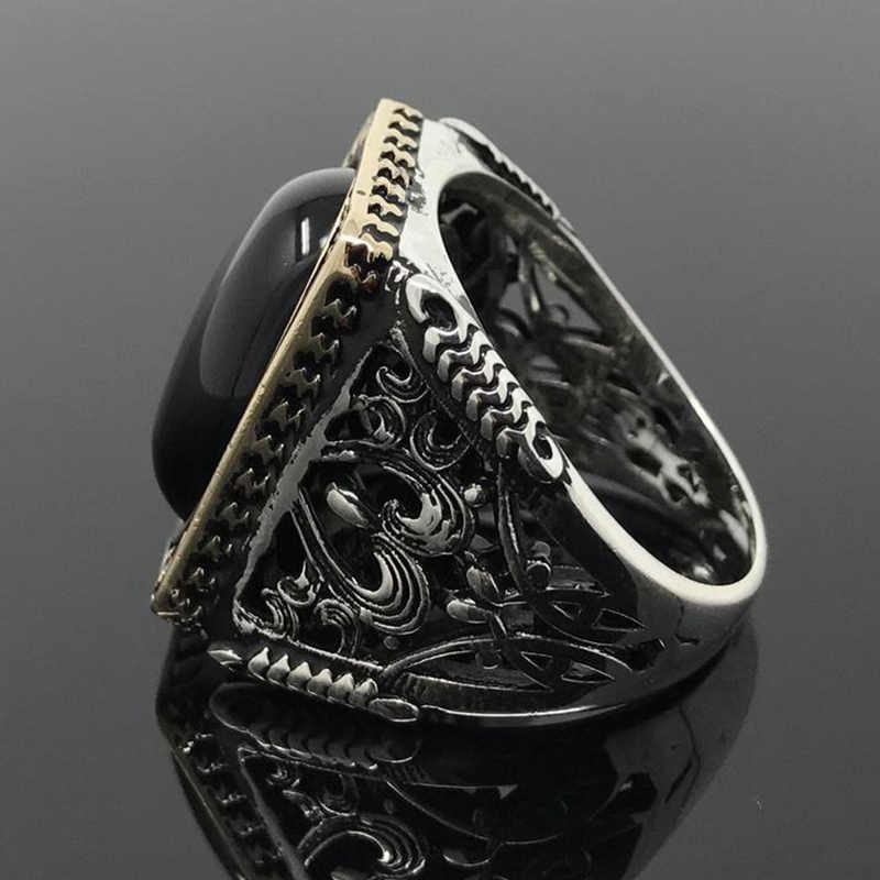 โบราณแหวนผู้หญิงเครื่องประดับ Vintage Big สีดำเรซิ่นหิน Hollow แกะสลักตุรกีหญิง Bohemian ชาติพันธุ์แหวนผู้ชาย Z3M231