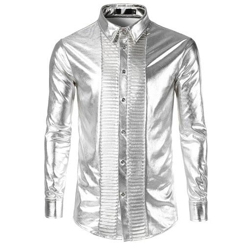 2018 Smoking Palast Hemd Männer Plus Größe Nachtclub Bühne Chemise Homme Shiny Metallic Mens Kleid Shirts Langarm Silber Camisa Reine WeißE