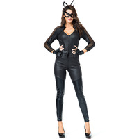 Sexy Women Black Wet Look Cat Bodysuit Costume Wicked Cat Cosplay Jumspuits Halloween Carnival Girls Fighter Role Playing Outfit