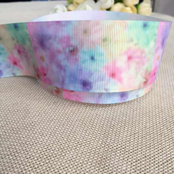5 yard 1 - 1/2 ( 38 mm ) new Gradient fantasy flower hot  ribbon pattern printed ribbon, DIY polyester grosgrain ribbon
