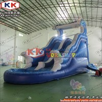 Blue Wave Water Slide Inflatable Toys For Children, KK factory Inflatable Wet Slide With Pool For Hire