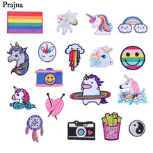Prajna Rainbow Patches Unicorn Horse Dream Catcher Iron On Patch Gay Logo Cute Cloth Embroidered Badges For Jeans DIY Clothing(China)