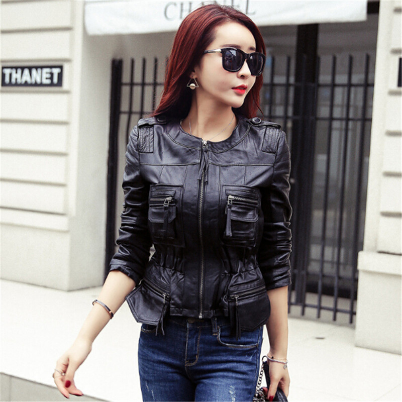 Vintage PU   Leather   Jacket Women Faux   Leather   Jackets Black Zipper Jackets Winter Biker Motorcycle Jacket