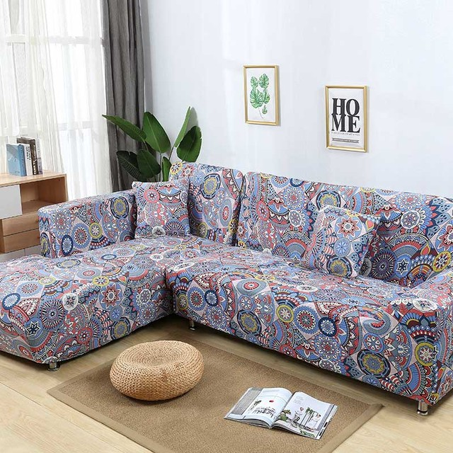 US $13.33 55% OFF|L shaped Sofa Cover Elastic Blue Sofa covers for living  room Copridivano Couch cover Sofa slipcovers for armchairs 1 4 Seater-in ...
