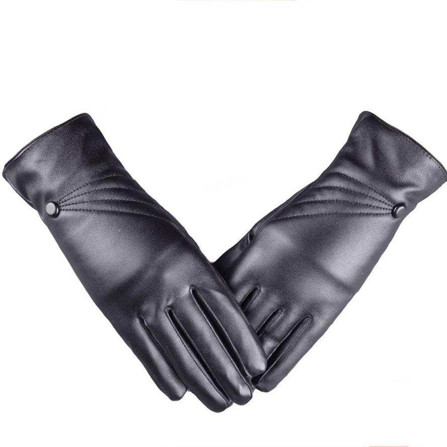 Synthetic leather driving gloves - Luxurious Women Leather Driving Gloves Winter Super Warm Gloves Cashmere Femme Guantes Mujer Luvas Em Couro