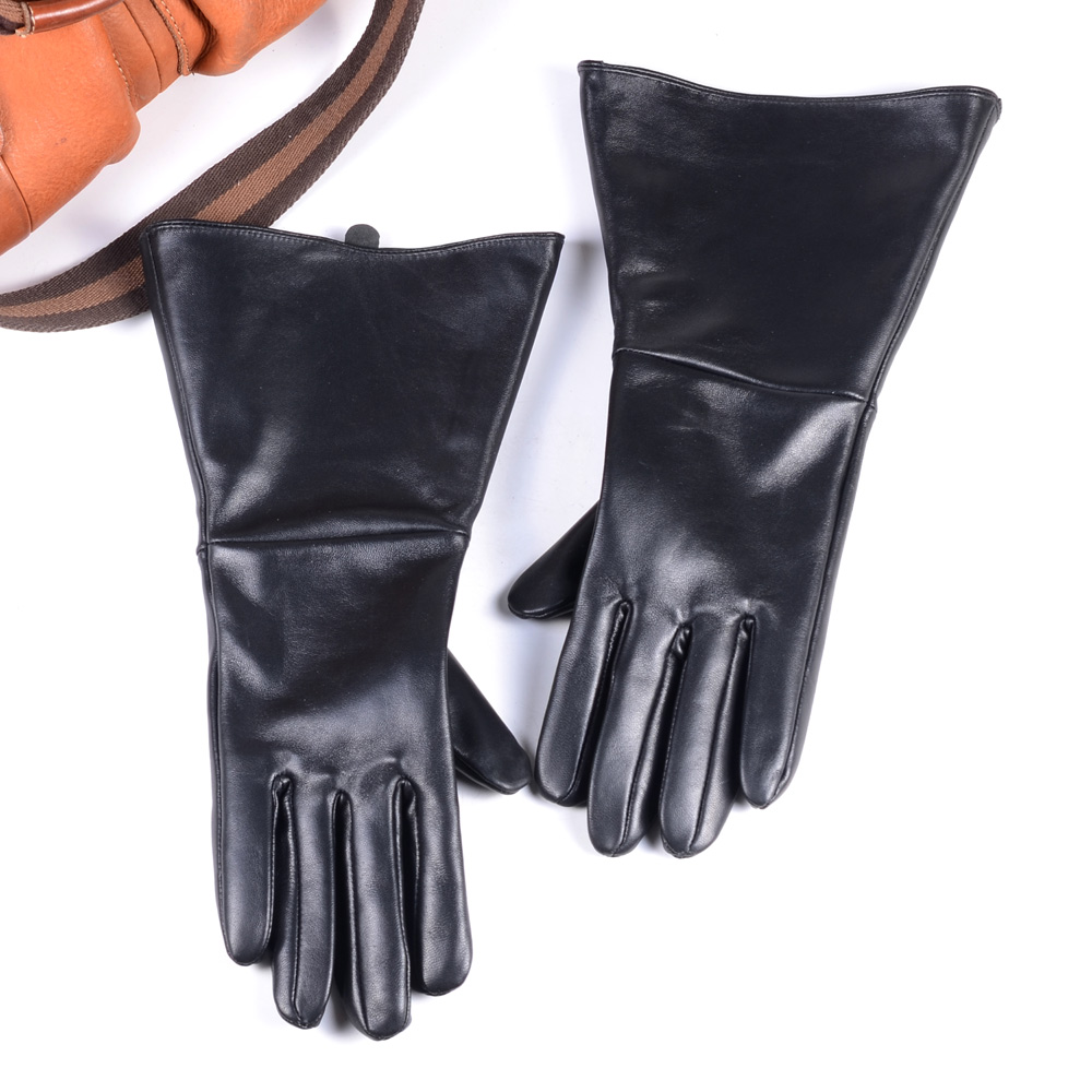 35CM MEN'S BLACK SHEEPSKIN LEATHER MEDIEVAL RENAISSANCE LONG CUFF GAUNTLET GLOVES