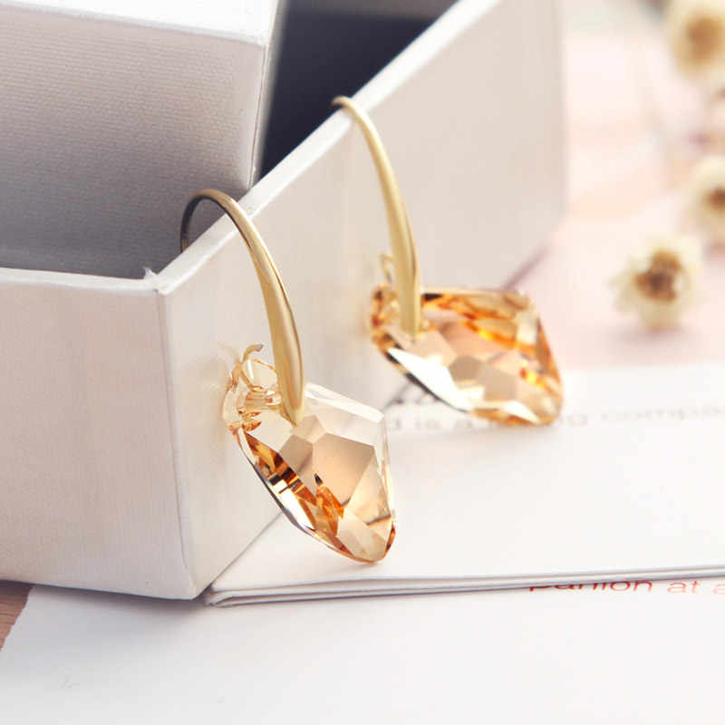 Neoglory Yellow Austrian Crystal Charm Dangle Drop Earrings for Women Bridal Fashion Gift Jewelry 2018 New Fashion Brand JS9