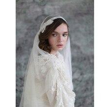 جولييت كاب حجاب الزفاف حجاب الزفاف 2 طبقات خمر يزين الحجاب الأبيض العاجي للعروس فيلوس دي نوفيا 2019 فويلز مارياج