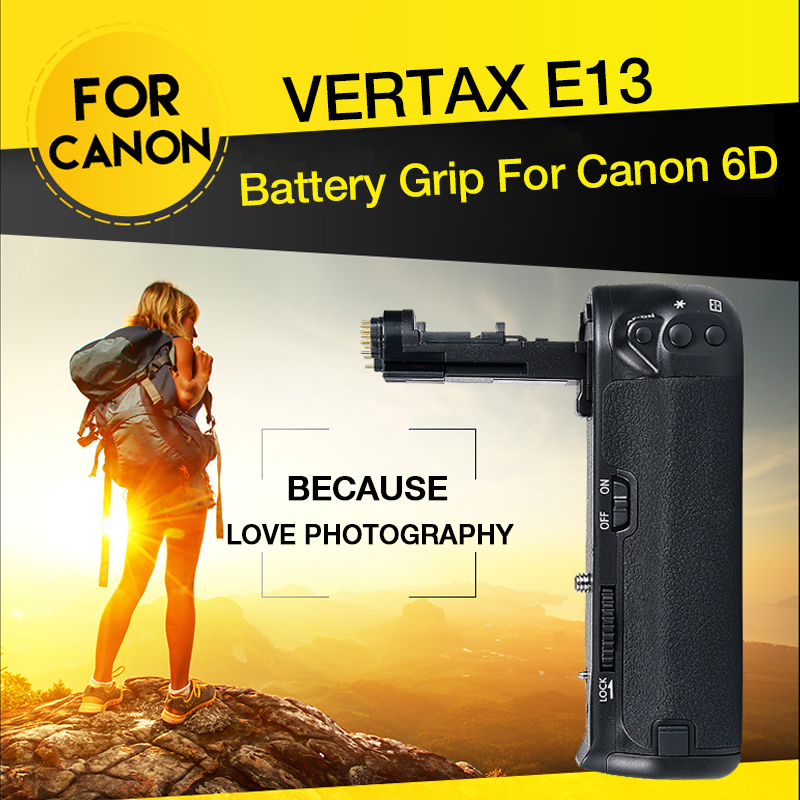 Pixel Official Product Vertax E13 Battery Grip Holder for Canon 6D DSLR Camera Replacement BG-E13 Work with LP-E6 Battery