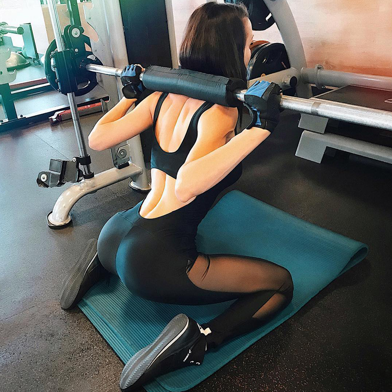Workout Clothes Women Gym Set Backless Yoga Sets Mesh Splice Women Sportswear Fitness Tight Yoga Jumpsuit Sexy Gym Bodysuit