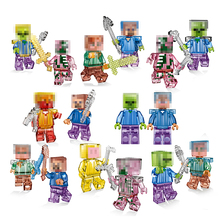8PCS Crystal Mine World Shadow Dragon Zombie Steve Skeleton Compatible Legeo Minecrafted Building Blocks Toys Brinquedos