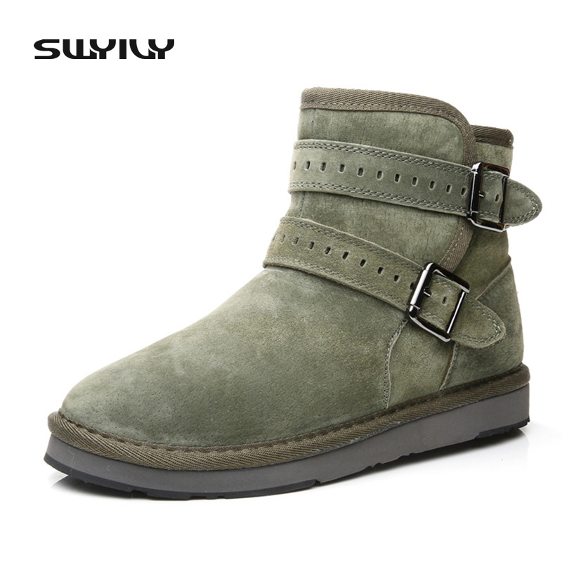 Genuine Leather Army Green Women Snow Boots 2017 Winter New Fur Fashion Female Ankle Warm Boots Ladies Leisure Leather Shoes 2015 winter new style women boots ladies lovely fashion snow shoes female handmade rhinestone genuine leather snow boots