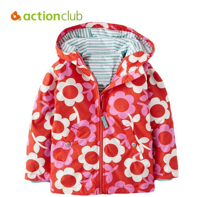 Actionclub 2016 Novos Do Bebê Meninas Outerwear Meninas Primavera Outono Cópia Da Flor Jaqueta Casaco Infantil Crianças Crianças Revestimento Roupa