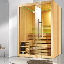 Kryty sucha Sauna z dwuwarstwowy dla 4-6 osób M-6030 tanie tanio Panel sterowania komputerowego Z pawęży okna Pokoje sauny Z litego drewna Hemlock Sucha para 4 osób LED ILLUMINATION RADIO