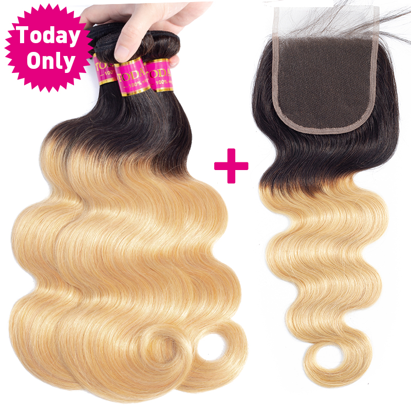 TODAY ONLY Brazilian Body Wave Bundles With Closure Blonde Brazilian Hair Weave Bundles Ombre Human Hair