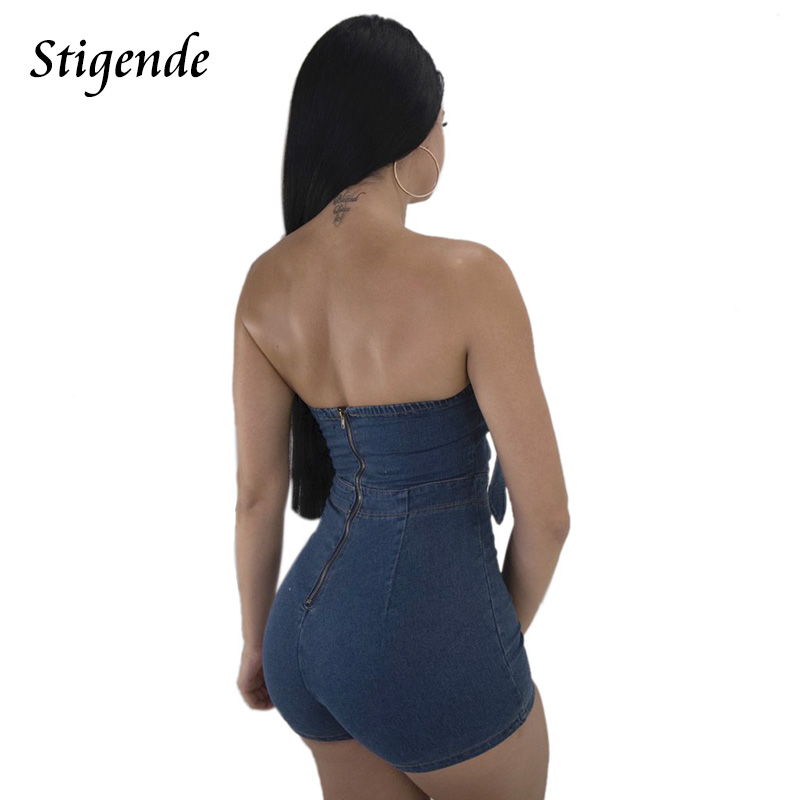 Stigende PLUS SIZE Women Denim Short Jumpsuit Off Shoulder Strapless Denim Rompers Jumpsuit Back Zipper Skinny Jeans Jumpsuit 1