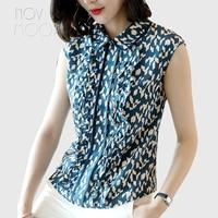 Office style ladies black blue geometric ruffles natural silk sleeveless t shirt summer tops plus size camisa ropa mujer LT2261