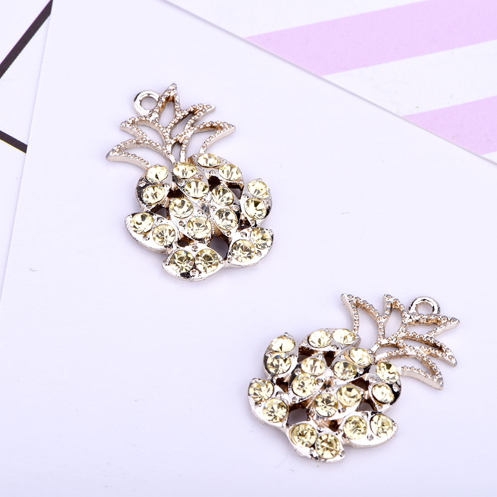 Yellow Pineapple Metal Charms With Clear Rhinestone Charms for Jewelry Making Pendants DIY Necklace/Bracelet/Earrings 10pcs/lot