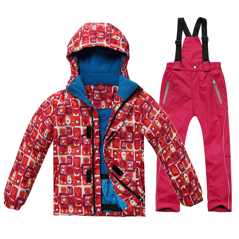 ФОТО Free shipping Kids Ski set Windproof Waterproof Skiing Jacket and pant snow -20-30 DEGREE Ski suit for Boys and Girls PYS618