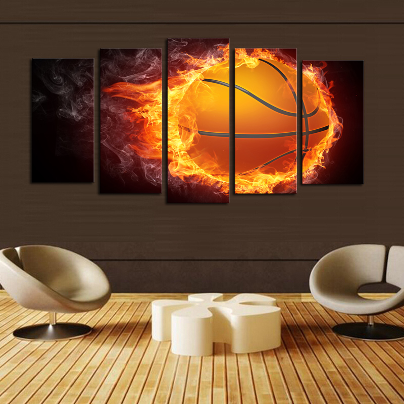 luxry unframed 5 pcs basketball picture print painting modern canvas wall art for wall decor home - Canvas Wall Decor