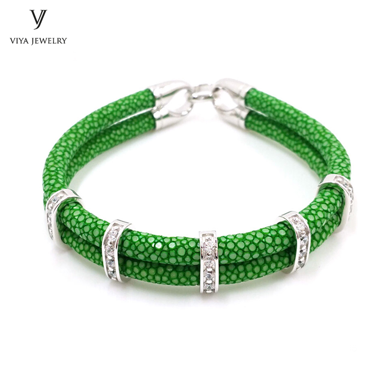 цена Sports Club Gift Green & Customize Colors Bracelets 925 Silver Bracelet Genuine High Grade Stingray Leather Bracelet онлайн в 2017 году