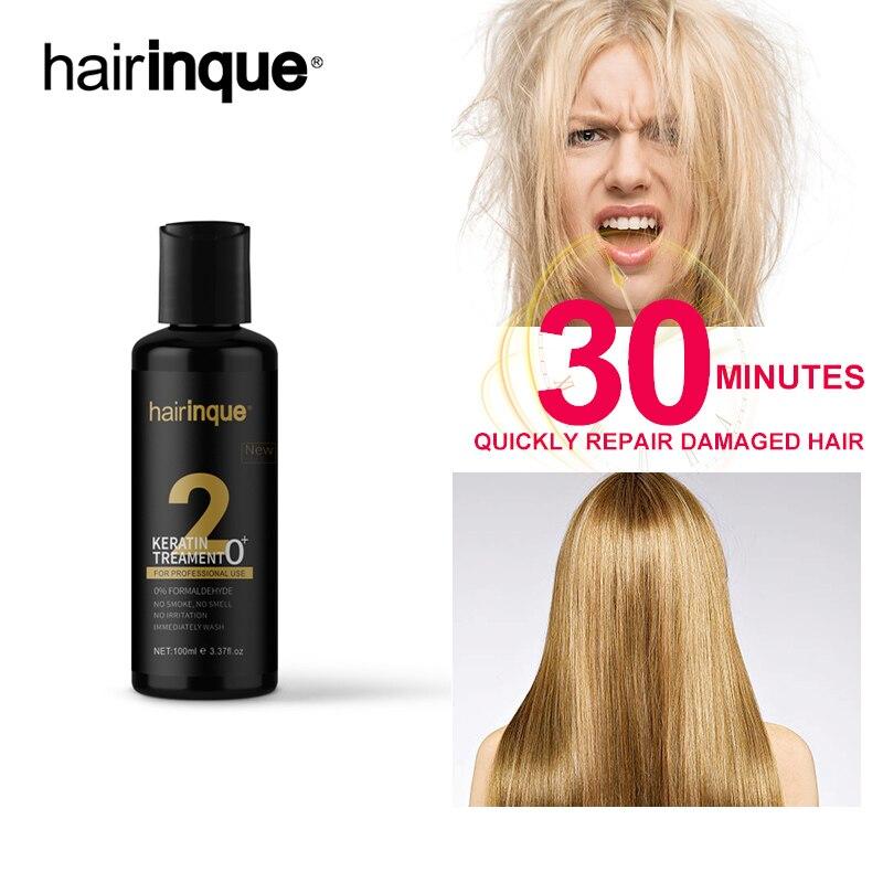Hot Selling 100ml 0% FORMALDEHYDE Keratin Treatment NO SMELL NO SMOKE NO IRRITATION Hair Make Smooth Shiny Hair Treatment 3.28