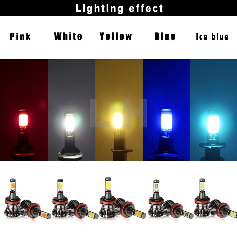 Car H11 H8 LED Fog Driving Light Bulbs 80W 8000LM Canbus Error Free Strobe Flash Light 2 models Pink white Ice Blue Yellow Amber