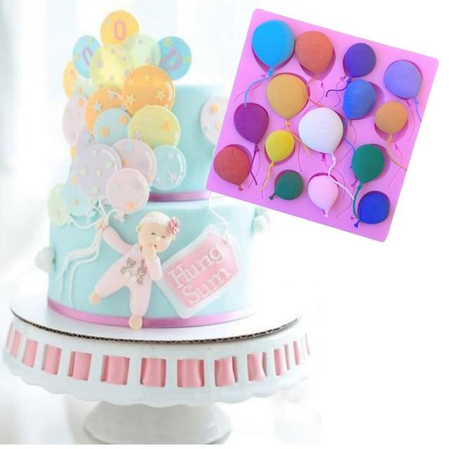 Diy Silicone Balloon Of Birthday Cake Border Molds Fondant Cake