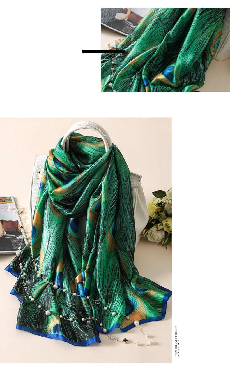 Jedwabny szalik kobiety szalik z wzorem kwiat, ptaki, liść, łańcuszki, 100% naturalny jedwab okłady szale i chusty 180*90cm Hijabs