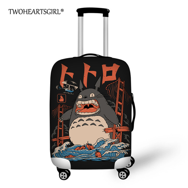 Cute Totoro Print Luggage Protective Dust Cover Thick Elastic Travel Suitcase Cover for 18-30 Inch Trolley Case Trunk Case Cover star print refrigerator dust cover