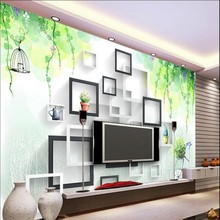 beibehang Custom large - scale murals fantasy box watercolor flowers rattan bird cage 3D