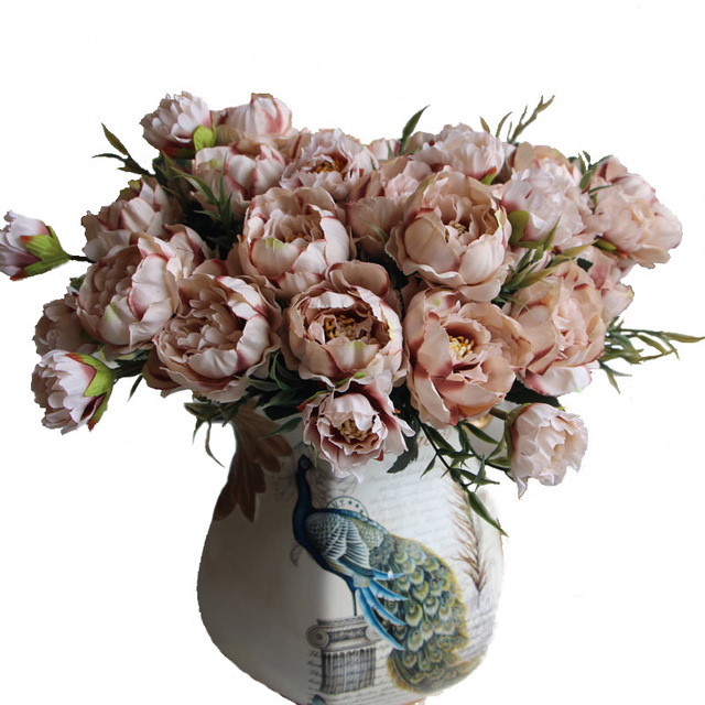 Aliexpress buy 8 head europe peony silk flower arrangement 8 head europe peony silk flower arrangement artificial fake bouquet wedding living room table home garden mightylinksfo